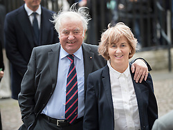 © Licensed to London News Pictures. 27/09/2016.  Jimmy Tarbuck and his wife Pauline arrive for a Service of Thanksgiving for the Life and Work of Sir Terry Wogan at Westminster Abbey. Veteran broadcaster Sir Terry Wogan died in January 2016. The Irish star had a long and successful career at the BBC, including stints on  radio and TV. London, UK. Photo credit: Peter Macdiarmid/LNP