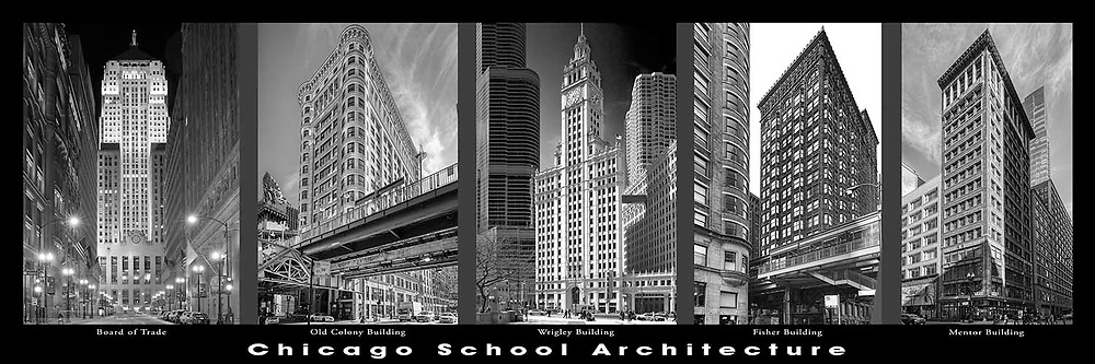 Chicago architecture.  Downtown. Chicago School architectural examples. Chicago's first towers and high rises..  Digital photography.