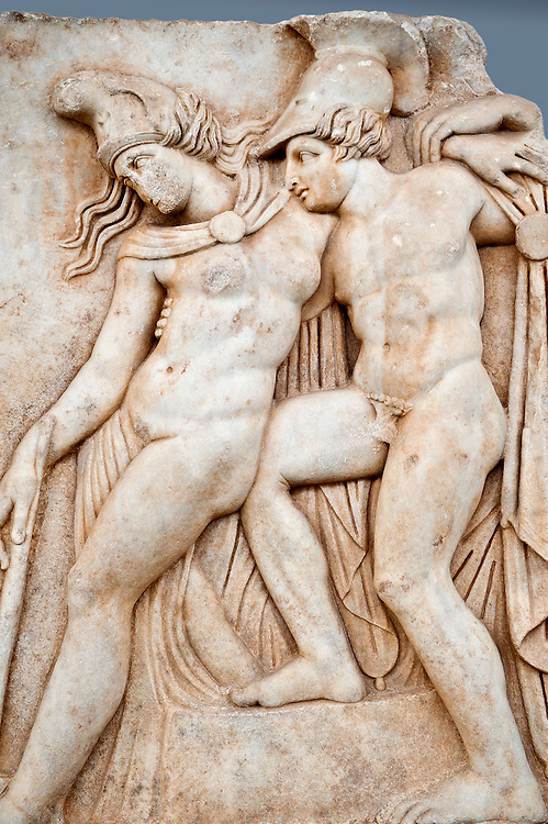 Roman relief sculpture, Aphrodisias, Turkey, Images of Roman art bas reliefs.  Achilles supports the dying Amazon queen Penthesilea whom he has mortally wounded. Her double headed axe slips from her hands. The queen had come to fight against the Greeks in the Trojan war and Achilles fell in love with her. .<br /> <br /> If you prefer to buy from our ALAMY STOCK LIBRARY page at https://www.alamy.com/portfolio/paul-williams-funkystock/greco-roman-sculptures.html . Type -    Aphrodisias     - into LOWER SEARCH WITHIN GALLERY box - Refine search by adding a subject, place, background colour, museum etc.<br /> <br /> Visit our ROMAN WORLD PHOTO COLLECTIONS for more photos to download or buy as wall art prints https://funkystock.photoshelter.com/gallery-collection/The-Romans-Art-Artefacts-Antiquities-Historic-Sites-Pictures-Images/C0000r2uLJJo9_s0