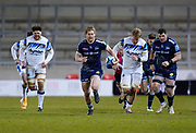 Sale Sharks fly-half Rob Du Preez makes a break during a Gallagher Premiership Round 9 Rugby Union match, Friday, Feb 12, 2021, in Leicester, United Kingdom. (Steve Flynn/Image of Sport)