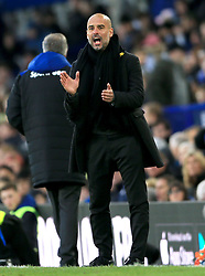 Manchester City manager Pep Guardiola gestures on the touchline during the Premier League match at Goodison Park, Liverpool.