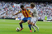 Real Madrid´s Fabio Coentrao and Valencia´s Alvaro Negredo during 2014-15 La Liga match between Real Madrid and Valencia at Santiago Bernabeu stadium in Madrid, Spain. May 09, 2015. (ALTERPHOTOS/Luis Fernandez)
