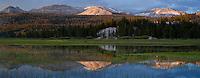 Yosemite national park, California - Sunset mountain reflection in flooded field, Tuolumne meadows