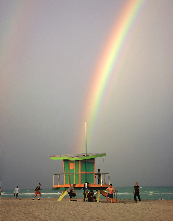 rainbow hits south beach lifeguard stand miami beach