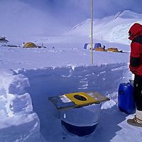 ANTARCTICA, Mountaineering.  Toilet barrels for flying out human waste from Mount Vinson base camp, Ellsworth Mountains.