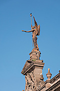 The statue of Victory on the facade of the State Government Palace and Museum or Palacio de Gobierno del Estado de Nuevo Leon in the Macroplaza Grand Plaza alongside the Barrio Antiguo neighborhood of Monterrey, Nuevo Leon, Mexico.