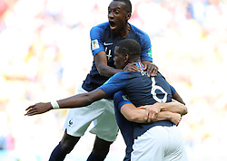 June 16, 2018 - Kazan, Russia - Paul Pogba (R) of France celebrates his goal with his teammate during a group C match between France and Australia at the 2018 FIFA World Cup. France won 2-1. (Credit Image: © Yang Lei/Xinhua via ZUMA Wire)