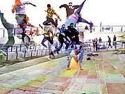 Collage of several images of a gropu of breakdancers jumping
