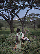 Kanga. Hunting from a blind for stork, during their migration to Africa. At and near the Hadza camp of Dedauko.
