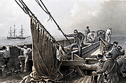 The Atlantic Telegraph: preparing to grapple for the broken cable from the bows of the SS 'Great Eastern' 2 August 1865. From WH Russell 'The Atlantic Telegraph' London 1866. Tinted lithograph.