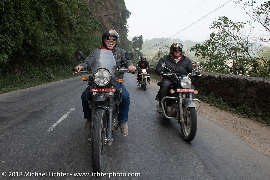 Danny Ochs (L) and Rip Rolfsen on day-9 of our Himalayan Heroes adventure riding from Pokhara to Nuwakot, Nepal. Wednesday, November 14, 2018. Photography ©2018 Michael Lichter.