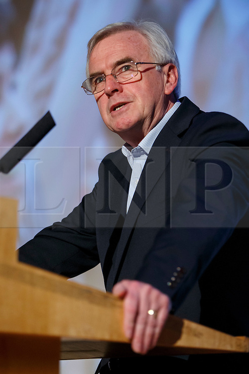 "© Licensed to London News Pictures. 28/05/2016. London, UK. Labour Shadow Chancellor JOHN MCDONNELL speaking at ""Another Europe is Possible"" rally at UCL Institute of Education in London, campaigning for a remain vote at the upcoming EU referendum.  Speakers at the event include former Greek Finance Minister Yanis Varoufakis and Green Party MP Caroline Lucas. Photo credit: Tolga Akmen/LNP"