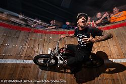 Rhett Rotten riding in his Wall of Death at Destination Daytona during Daytona Bike Week. Ormond Beach, FL. USA. Monday March 12, 2018. Photography ©2018 Michael Lichter.