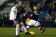John Fleck of Sheffield United (L) evades a tackles from Lee Gregory of Millwall (R). EFL Skybet championship match, Millwall v Sheffield Utd at The Den in London on Saturday 2nd December 2017.<br /> pic by Steffan Bowen, Andrew Orchard sports photography.