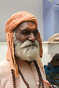 India, Rajasthan, Pushkar mature man in traditional head dress