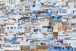 View of Chefchaouen against Rif Mountains, Morocco