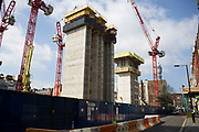Construction of new buildings on Rathbone Place in central London, UK.