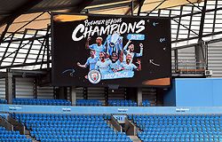 Stadium screen shows Manchester City as champions at the Etihad Stadium, Manchester.