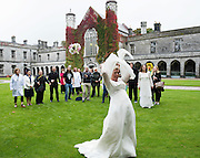 21/09/2016 REPRO FREE:  Trish Burke trows her bouquet   Daring to Care At NUIG in aid of Cancer Society. Photo:Andrew Downes, XPOSURE.