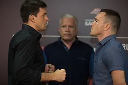 October 26, 2017 - Sao Paulo, Sao Paulo, Brazil - DEMIAN MAIA (#3) (L) and  COLBY COVINGTON (#7) pose during a press conference in a hotel in Sao Paulo, Brazil..Athletes fight in the Octagon in the Ibirapuera Gymnasium on Saturday, 28, during the UFC Fight Night Sao Paulo. (Credit Image: © Paulo Lopes via ZUMA Wire)