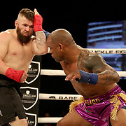 FORT LAUDERDALE, FL - FEBRUARY 15: Hector Lombard (R) fights David Mundell during the Bare Knuckle Fighting Championships at Greater Fort Lauderdale Convention Center on February 15, 2020 in Fort Lauderdale, Florida. (Photo by Alex Menendez/Getty Images) *** Local Caption *** Hector Lombard; David Mundell