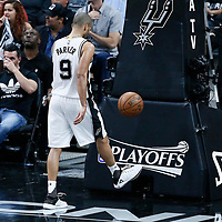 03 May 2017: San Antonio Spurs guard Tony Parker (9) is seen during the San Antonio Spurs 121-96 victory over the Houston Rockets, in game 2 of the Western Conference Semi Finals, at the AT&T Center, San Antonio, Texas, USA.