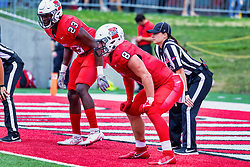 NORMAL, IL - October 02: Clayton Isbell, Kenton Wilhoit  and Jen Berke get set for play to resume during a college football game between the Bears of Missouri State and the ISU (Illinois State University) Redbirds on October 02 2021 at Hancock Stadium in Normal, IL. (Photo by Alan Look)