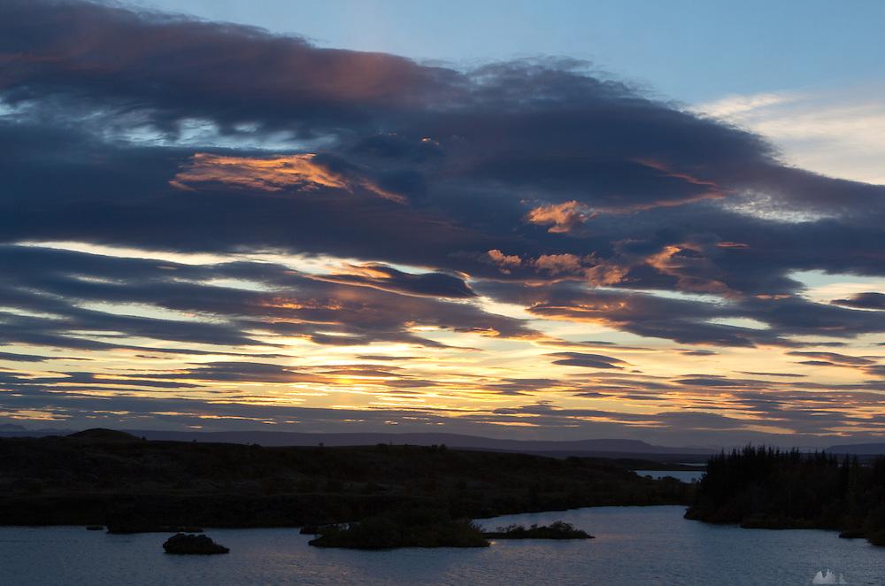 Sunset over Lake Myvatn, taken at Hofdi