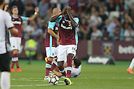 Pedro Mba Obiang of West Ham United reacts in frustration. UEFA Europa league, 1st play off round match, 2nd leg, West Ham Utd v Astra Giurgiu at the London Stadium, Queen Elizabeth Olympic Park in London on Thursday 25th August 2016.<br /> pic by John Patrick Fletcher, Andrew Orchard sports photography.
