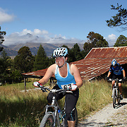 Paula Costello in action during the bike leg of the Paradise Triathlon and Duathlon series, Paradise, Glenorchy, South Island, New Zealand. 18th February 2012. Photo Tim Clayton
