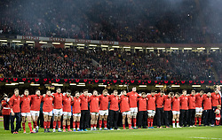 Wales players pay their respects<br /> <br /> Photographer Simon King/Replay Images<br /> <br /> Under Armour Series - Wales v Australia - Saturday 10th November 2018 - Principality Stadium - Cardiff<br /> <br /> World Copyright © Replay Images . All rights reserved. info@replayimages.co.uk - http://replayimages.co.uk
