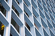 A wall of diamond shaped-windows at the Seattle Central Public Library in downtown Seattle, Washington, USA