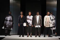 """© Licensed to London News Pictures. 02/06/2015. London, UK. Collection by Rachel Siggee, Nottingham Trent University. Runway show """"Best of Graduate Fashion Week 2015"""". Graduate Fashion Week takes place from 30 May to 2 June 2015 at the Old Truman Brewery, Brick Lane. Photo credit : Bettina Strenske/LNP"""