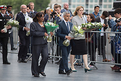 June 5, 2017 - City Hall, London, UK. Diane Abbott MP, The London mayor Sadiq Khan and Home Secretary Amber Rudd make their way to the flag post outside City Hall today to lay flowers at a vigil to remember the victims of the London Bridge terror attack. (Credit Image: © Manu Palomeque/London News Pictures via ZUMA Wire)