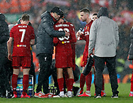 Jurgen Klopp manager of Liverpool hug Trent Alexander-Arnold of Liverpool during his extra time talk during the UEFA Champions League match at Anfield, Liverpool. Picture date: 11th March 2020. Picture credit should read: Darren Staples/Sportimage