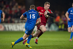 December 30, 2018 - Limerick, Ireland - Jordan Larmour (15) of Leinster and Keith Earls of Munster during the Guinness PRO14 match between Munster Rugby and Leinster Rugby at Thomond Park in Limerick, Ireland on December 29, 2018  (Credit Image: © Andrew Surma/NurPhoto via ZUMA Press)