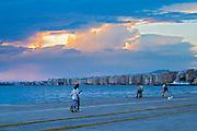 The waterfront. Evening sunset. Thessaloniki, Macedonia, Greece