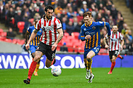 Ollie Palmer of Lincoln City (8) and Jon Nolan of Shrewsbury Town (20) battle for the ball during the EFL Trophy Final match between Lincoln City and Shrewsbury Town at Wembley Stadium, London, England on 8 April 2018. Picture by Stephen Wright.