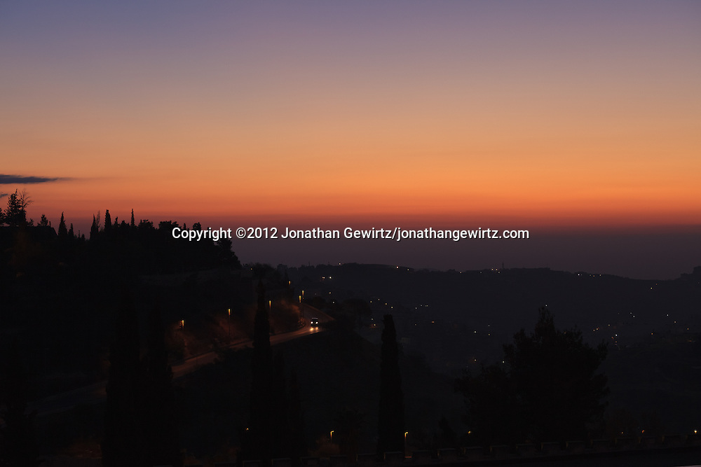 Pre-dawn light from the East illuminates Mount Zion and the Hills near Jerusalem. WATERMARKS WILL NOT APPEAR ON PRINTS OR LICENSED IMAGES.