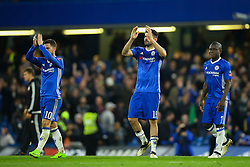 Diego Costa of Chelsea, Eden Hazard of Chelsea and Ngolo Kante of Chelsea applaud the fans following their 1-0 win over Manchester United - Mandatory by-line: Jason Brown/JMP - 13/03/2017 - FOOTBALL - Stamford Bridge - London, England - Chelsea v Manchester United - Emirates FA Cup Quarter Final