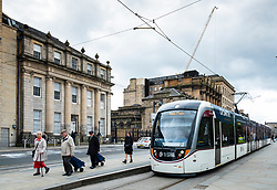 View of Edinburgh tram at station in St Andrews Square , Edinburgh, Scotland, UK