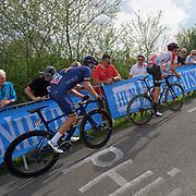 Lotto Soudal rider Tosh Van der Sande (Bel) leads Aqua Blue Sport rider Aaron Gate up the Côte de la Redoute climb during the 2018 Liège-Bastogne-Liège elite men's race on Sunday 22 April 2018.