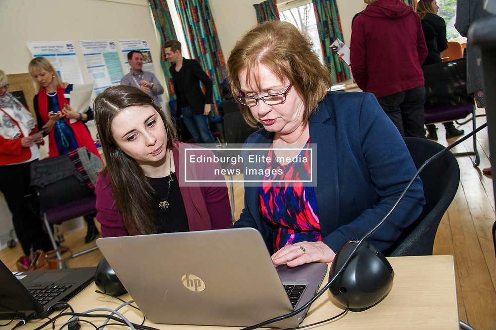 Pictured: Sarah Taylor, Reseach Nurse TEC project demonstrated the new tool to Ms Watt<br /> Today Mental Health Minister Maureen Watt vsiisted the Royal Hospital in Edinburgh to help aunch the online resource aimed at young people in this Eating Disorders Awareness Week, While thee she met two two Beat ambassadors, Constance Barter and Ballari Conner<br /> <br /> Ger Harley   EEm 28 Fbruary 2018