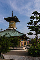 """The painted set of eyes of Hagyuji temple is influenced by temples in Nepal and Tibet. The Buddha eye expresses Ganriki, the power of the eye, carefully observing the minutiae of everything in the universe, whereas the nose symbolizes the searching mind of human beings and looking for the truth.  Although this kind of design is extremely unusual in Japan, the temple is a rather serious one, having been visited by none other than the Dalai Lama.  In the secret teachings , the important meanings are said to be the """"The Goddess of Buddha's Eyes."""" The symbol of this goddess is the virtue of five eyes. The five eyes are: the naked eye, the celestial eye, the eye of wisdom, the eye of Daruma, and the Buddha eye."""