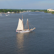 The Harvey Gamage on the Piscataqua River near the Portsmouth Naval Shipyard Prison during the Sail Portsmouth event, August, 2016.