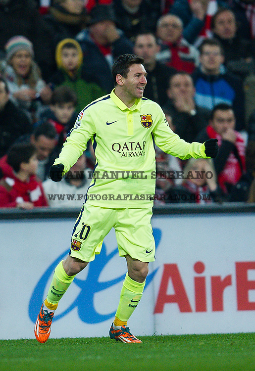 BILBAO, SPAIN - FEBRUARY 08:  Lionel Messi of FC Barcelona celebrates after scoringÊduring the La Liga match between Athletic Club and FC Barcelona at San Mames Stadium onÊFebruary 8, 2015 in Bilbao, Spain.  (Photo by Juan Manuel Serrano Arce/Getty Images)