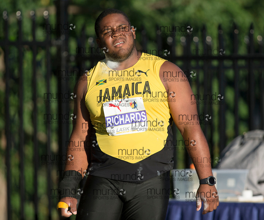 Toronto, ON -- 10 August 2018: O'dayne Richards (Jamaica), shot put at the 2018 North America, Central America, and Caribbean Athletics Association (NACAC) Track and Field Championships held at Varsity Stadium, Toronto, Canada. (Photo by Sean Burges / Mundo Sport Images).
