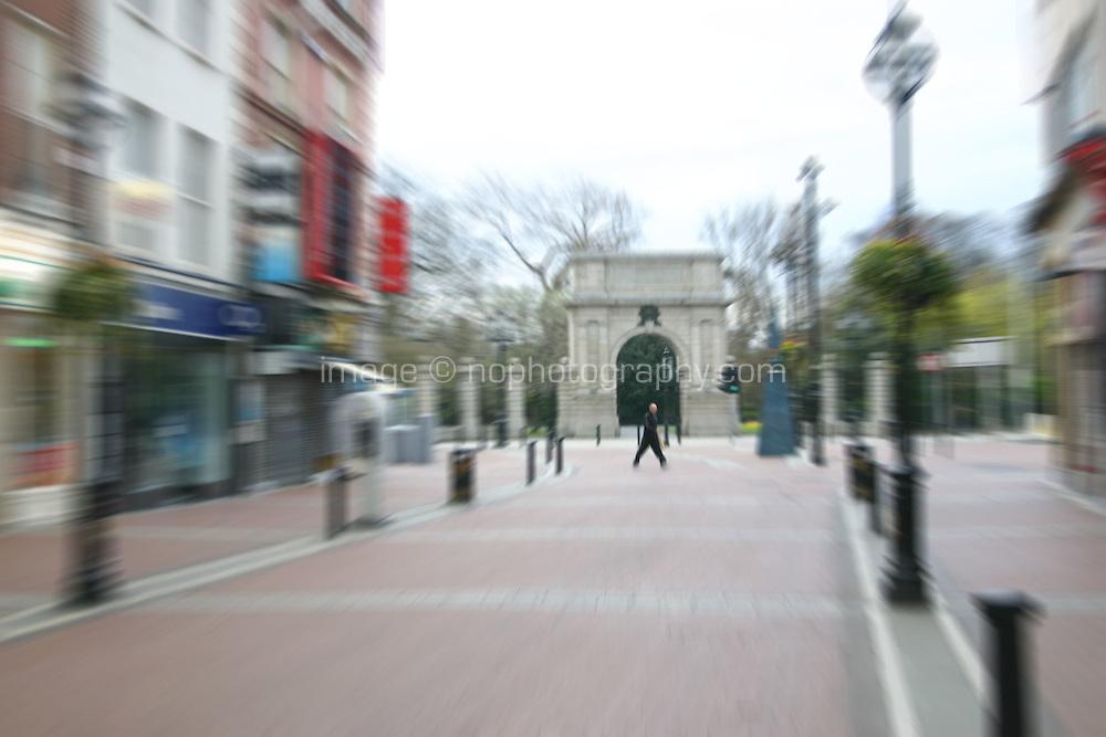 Grafton Street scene with zoom blur, Dublin, Ireland.