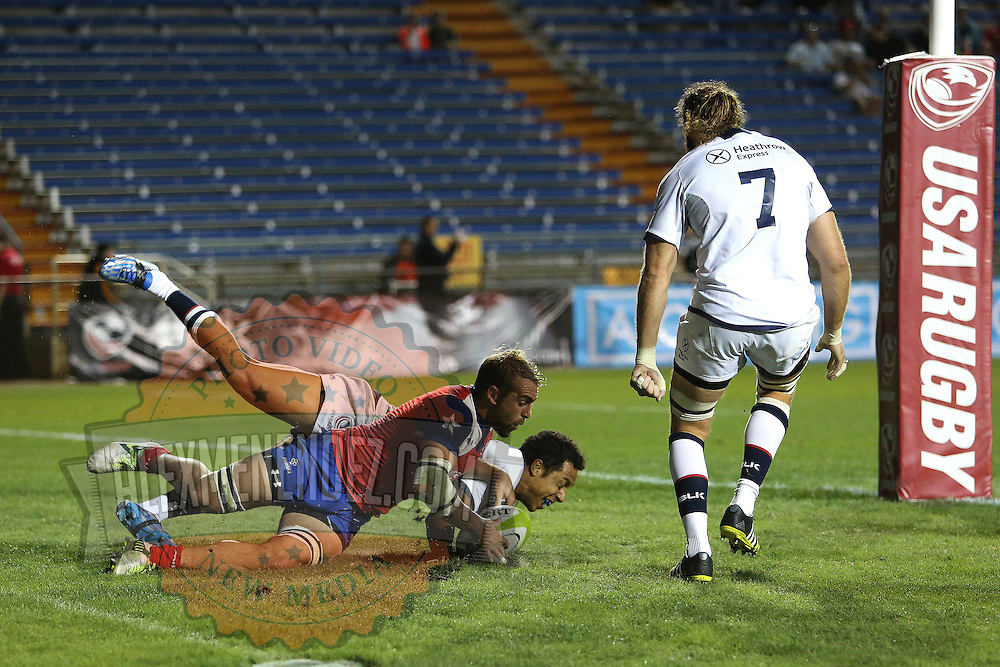 Nic Edwards (11) of the United States scores a try during the 2016 Americas Rugby Championship match at Lockhart Stadium on Saturday, February 20, 2016 in Fort Lauderdale, Florida.  (Alex Menendez via AP)