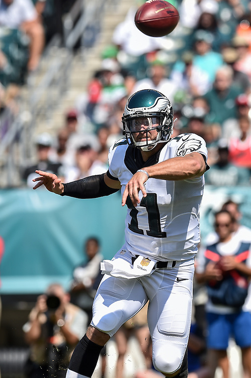 Philadelphia Eagles quarterback Tim Tebow (11) passes during the game against the Indianapolis Colts at Lincoln Financial Field on Aug 16, 2014 in Philadelphia, Pa. (Photo by John Geliebter/Philadelphia Eagles)